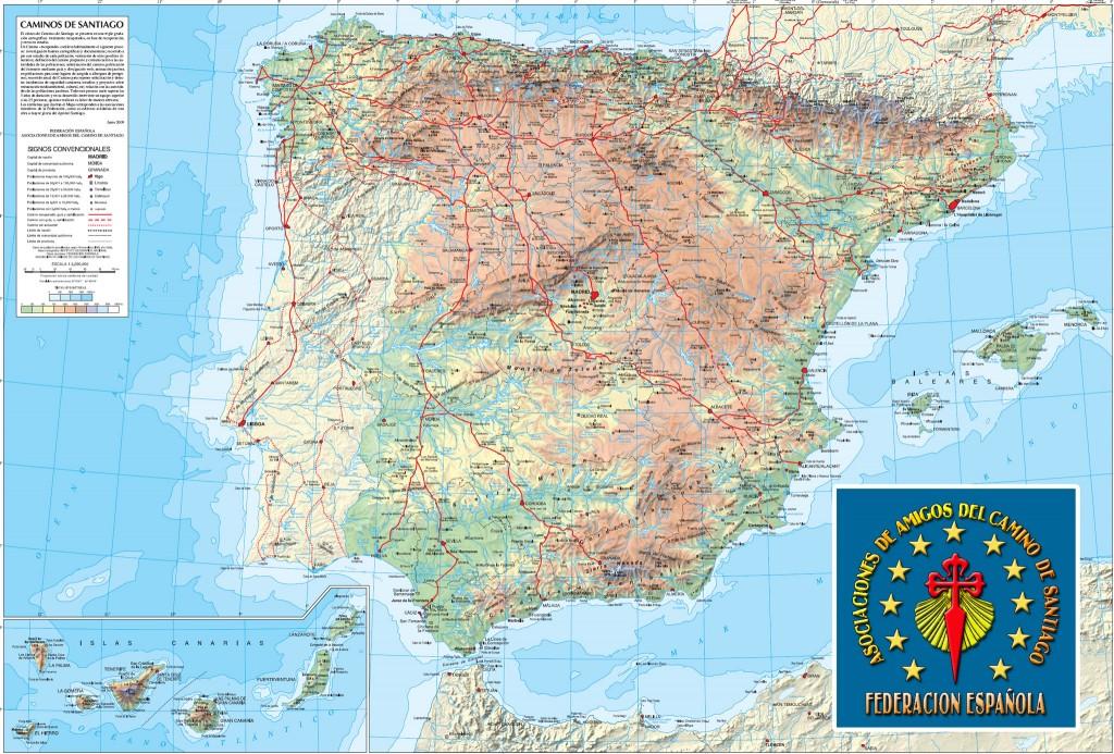 Mapa de los Caminos de Santiago